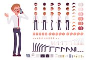 Male clerk character creation set. Full length, different views, isolated against white background. Build your own design. Cartoon flat-style infographic illustration