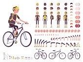 Male cyclist on sport bike character creation set. Full length, different views, emotions, gestures, isolated on white background. Build your own design. Cartoon flat-style infographic illustration