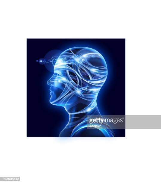 Male facial profile in X-ray abstract