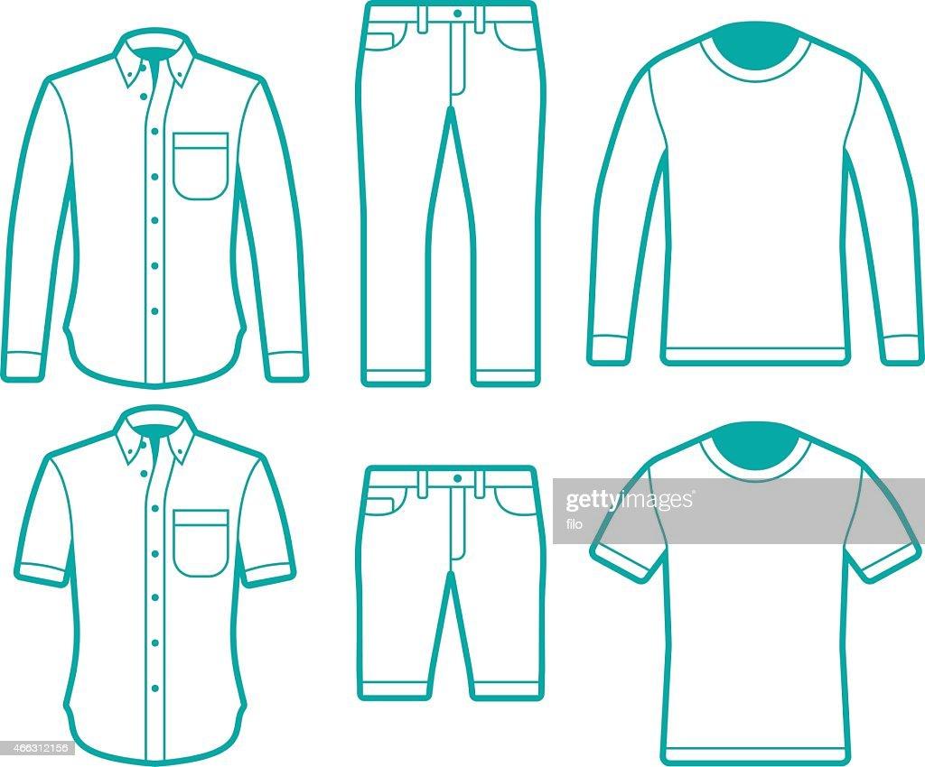 Male fashion dress shirts tshirts and pants symbols vector for Vector art for t shirts
