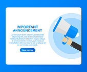 Male hand holding megaphone with Important Announcement. Loudspeaker. Banner for business, marketing and advertising. Vector stock illustration.