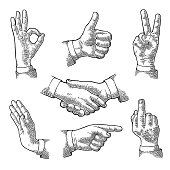 Male Hand sign. Like, Handshake, Ok, Stop, Middle finger up, Victory, Pointing gesture. Vector black vintage engraved illustration isolated white background