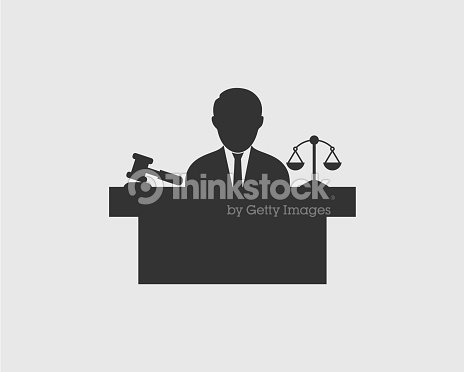 Male Judge Icon With Hammer Symbol Vector Art Thinkstock