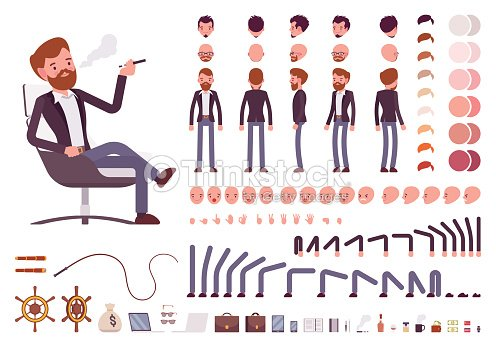 Male manager character creation set : stock vector