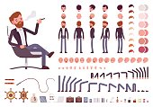 Male manager character creation set. Full length, different views, isolated against white background. Build your own design. Cartoon flat-style infographic illustration