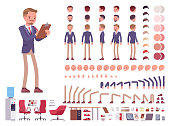 Male office secretary character creation set. Smart man assisting in work business help. Full length, different views, emotions, gestures. Build own design. Cartoon flat-style infographic illustration