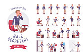 Male office secretary ready-to-use character set. Smart man assisting in paper work, managing business, helper busy in documents, doing multiple tasks. Full length, different views, gestures, emotions