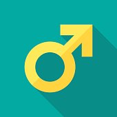 Male sex symbol icon with long shadow. Flat design style. Gender symbol simple silhouette. Modern, minimalist icon in stylish colors. Web site page and mobile app design vector element.