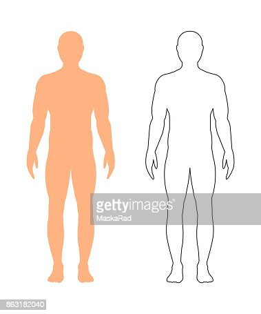 Male silhouette (contour) on white background, vector. : stock vector