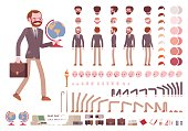 Male teacher character creation set. Full length, different views, isolated against white background. Build your own design. Cartoon flat-style infographic illustration