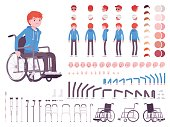 Male young wheelchair user character creation set. Full length, different views, emotions and gestures. Build your own design. Cartoon flat-style infographic illustration. Society and disabled people