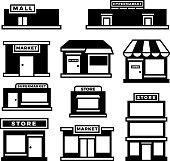 Mall and shop building icons. Shopping and retail pictograms. Supermarket, store exterior vector black symbols isolated. Monochrome building shop and store, market and retail illustration