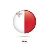 Malta flag - round glossy button. Vector Illustration.