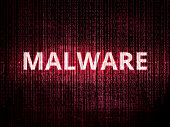Text malware on background with binary encoding in red.  Concept of invasion of privacy, hacker attack, computer attack by virus, ransomware, malware or spyware.