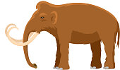 Mammoth vector mammal animal character with tusk and trunk in ancient stoneage illustration of prehistoric elephant isolated on white background.