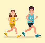 A man and a woman in sports clothes doing a run. Vector illustration in flat style