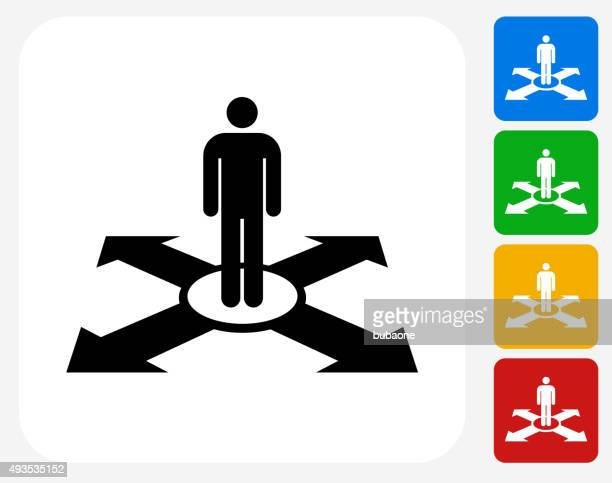 Man and Direction Icon Flat Graphic Design