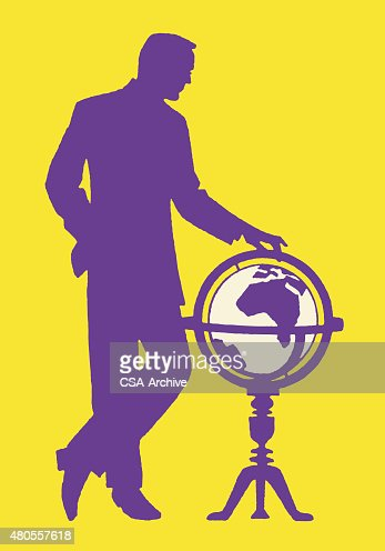 Man and Globe : Vector Art