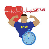 Vector illustration of a strong man and the work of his heart, measured with the help of a stopwatch on white background. Sport and heart rhythm on a stopwatch.