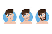 Man and his three beard style, Vector Illustration