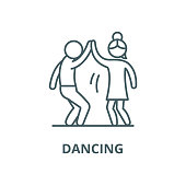 Man and woman are dancing vector line icon, outline concept, linear sign
