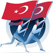 Man and woman are running with Turkish flags. Vector concept illustration.