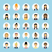 Man And Woman Avatars Set Businessman And Businesswoman Profile Icons Collection User Image Male Female Face Flat Vector Illustration