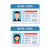 Man and woman driver license. Indification card photo ID. Vector illustration in flat style isolated on white background