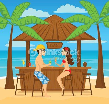 Hombre Y Mujer Enjoyig Vacaciones De Verano Beber Cócteles En La