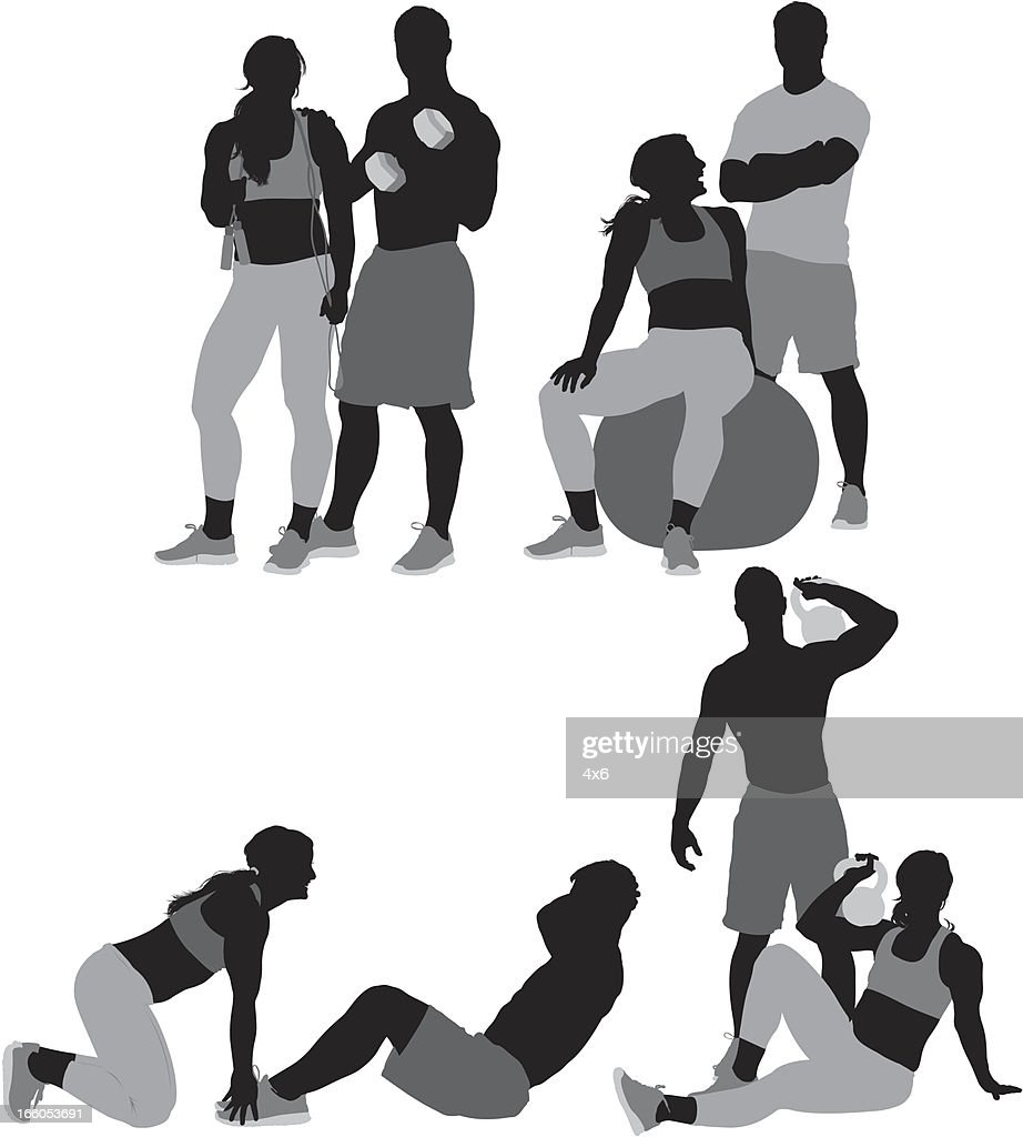Man and woman exercising : Vector Art
