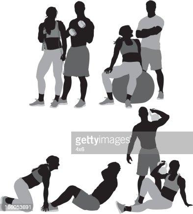 Man and woman exercising : Vector Art