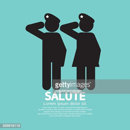 Man And Woman Gave The Salute Gesture : Vector Art