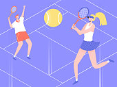 Man and woman play tennis on the court. The player gives the ball, the opponent is ready to beat back. Vector illustration.