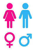 Man and woman flat icon. Sign toilet. Vector logo for web design, mobile and infographics. Vector illustration eps10. Isolated on white background.