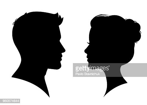 Man and woman silhouette face to face – vector : stock vector
