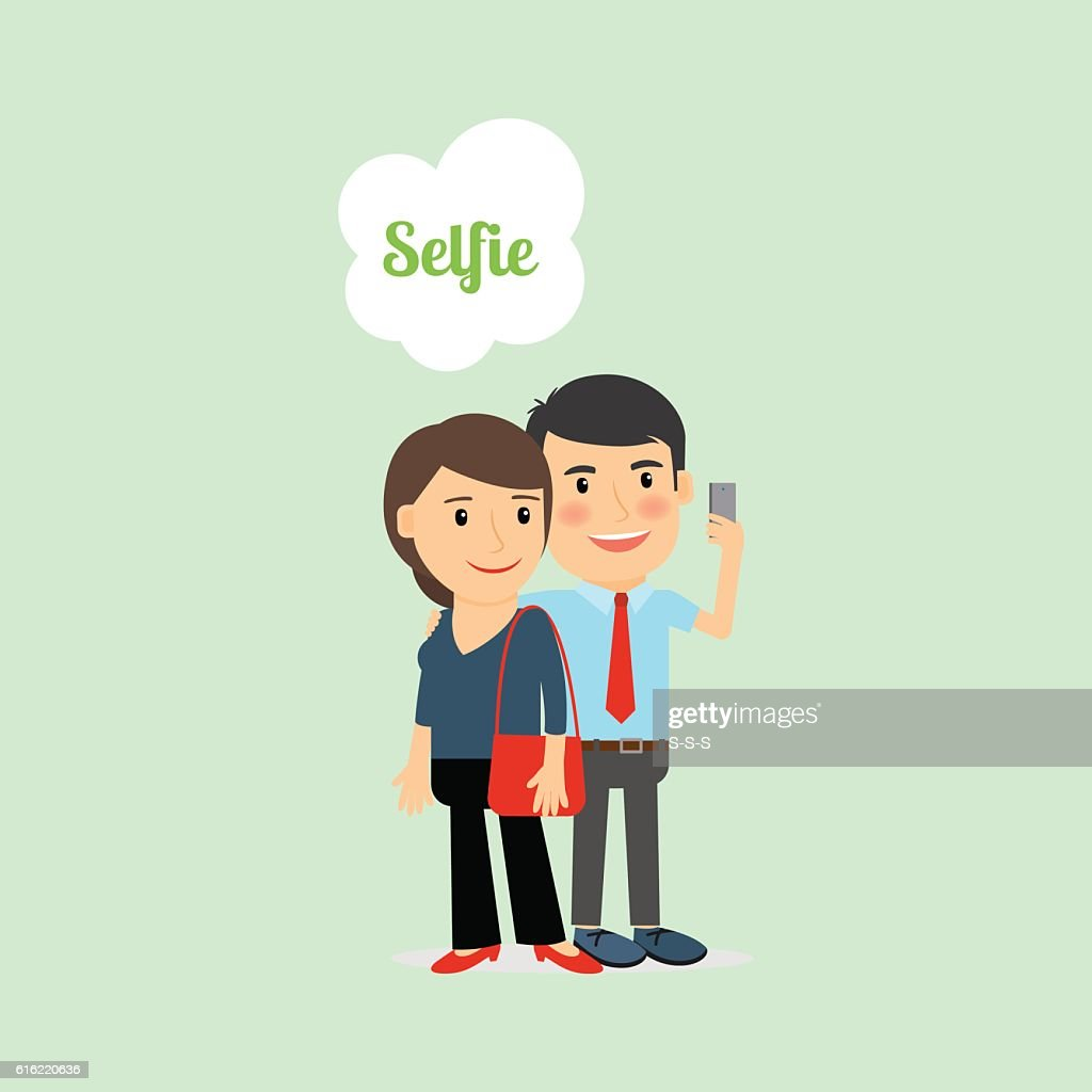 Man and woman taking Selfie : Vector Art