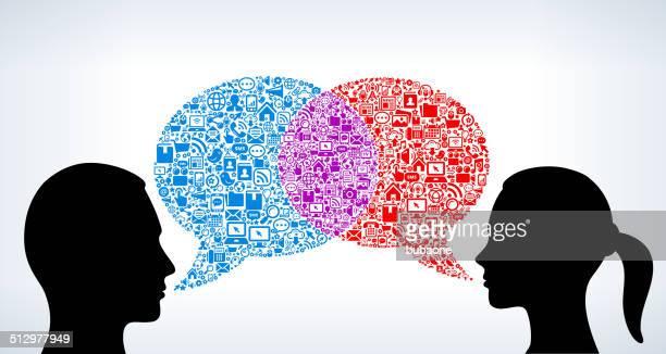 Man and Woman Talking Modern Technology & Communication