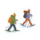 man and woman winter snowshoeing isolated vector cartoon illustration scene