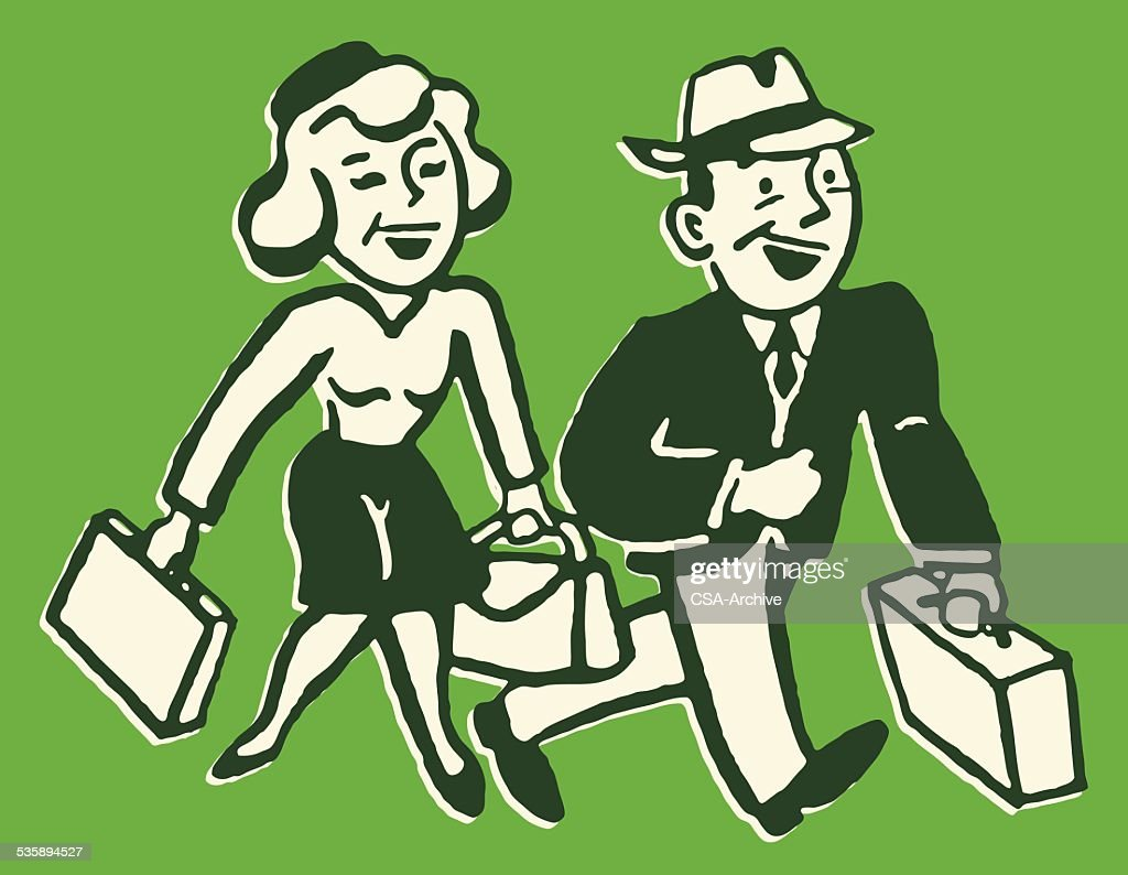 Man and Woman with Luggage : Vector Art