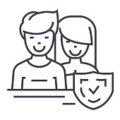 man and woman,front,shield vector line icon, sign, illustration on white background, editable strokes