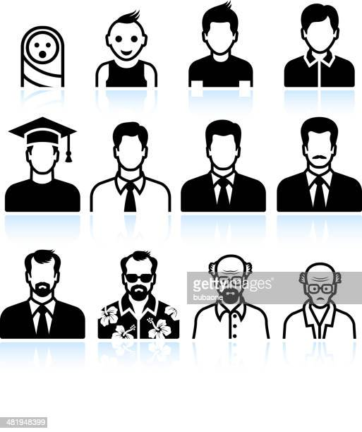 man Body Aging Process black & white vector icon set