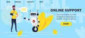 Man with broken hand talking with medicine bot. chatbot website concept for online medical consultation. Vector flat illustration.