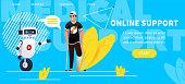 Man with broken leg talking with medicine bot. chatbot website concept for online medical consultation. Vector flat illustration.