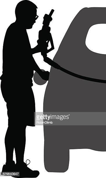 Man Buying Gas Silhouette