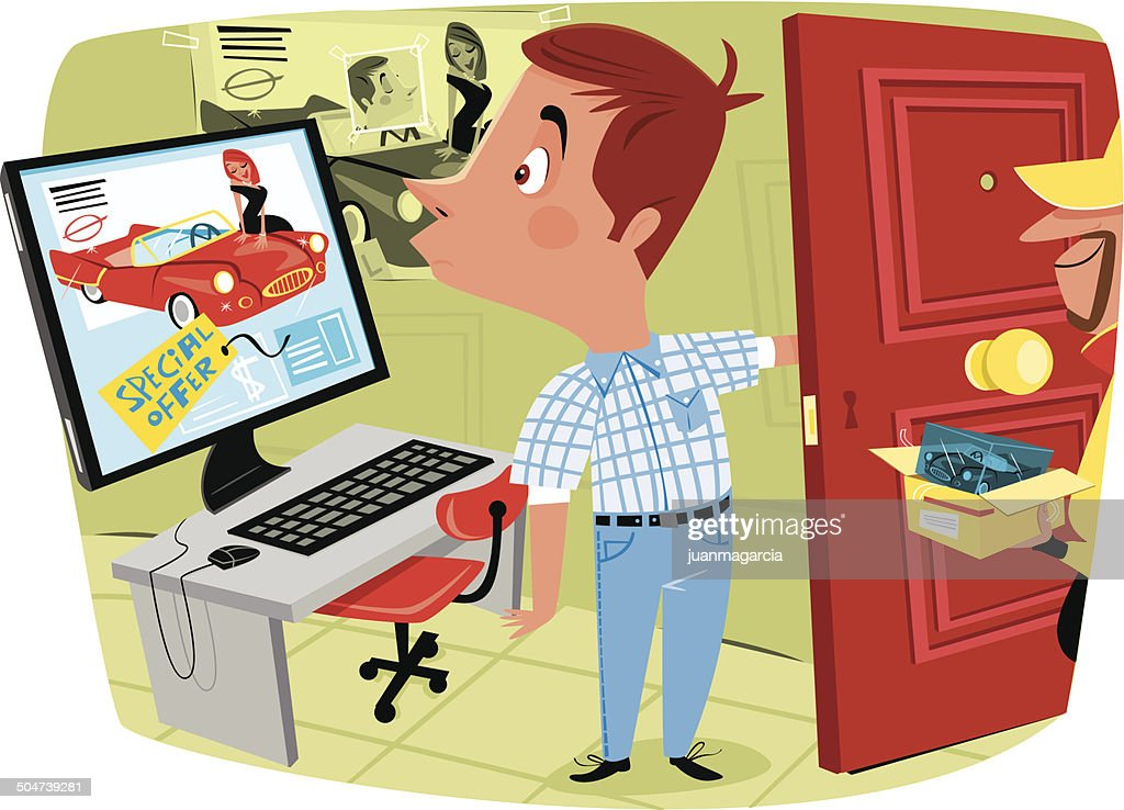 Man buying online and get something wrong : Vector Art