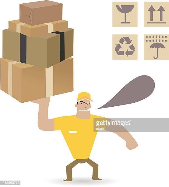 Man carrying heavy carton boxes ( Moving and Delivery  )