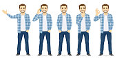 Man casual clothers in different poses vector set collection illustration