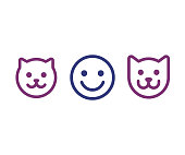 Human, cat and dog icon. Simple smiley face of man and pets. Vector illustration set.