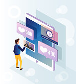 Man character using social network page on smartphone. Online communication device digital modern technology social media network. Vector flat cartoon isolated concept banner