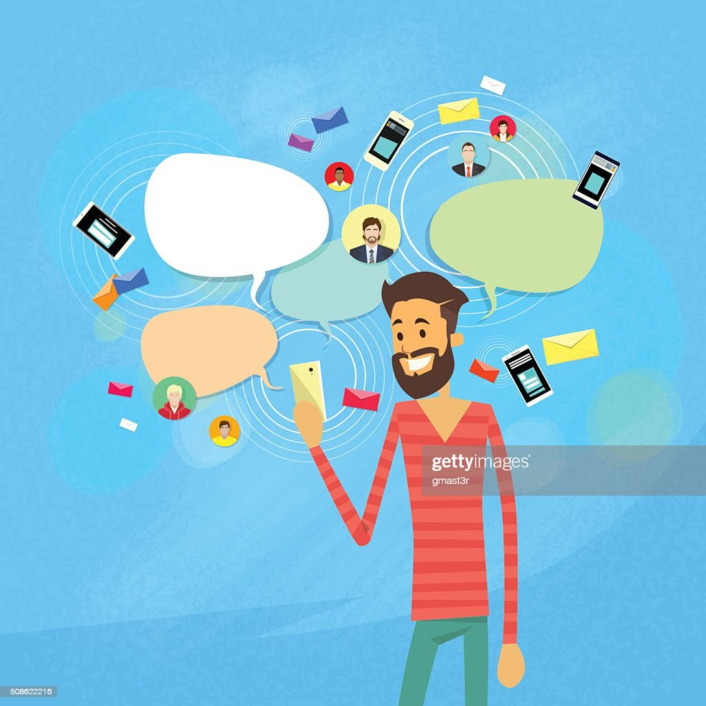 Man Chatting Texting, Social Network Communication : Vector Art
